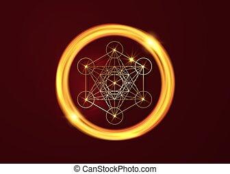 Metatrons Cube, vie de fleur. Géométrie sacrée dorée ...