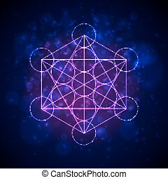 Metatrons Cube - Flower of Life. Vector illustration