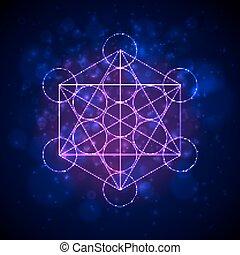 metatrons, kubus, -, bloem, van, life., vector