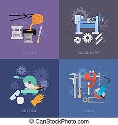 Metaworking icons set.