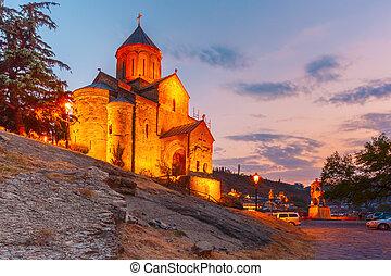 metekhi, iglesia, en, ocaso, tbilisi, georgia