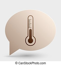 Meteo diagnostic technology thermometer sign. Brown gradient icon on bubble with shadow.
