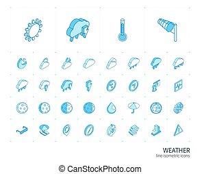 meteo, icons., ベクトル, 線, 3d, 等大, 天候