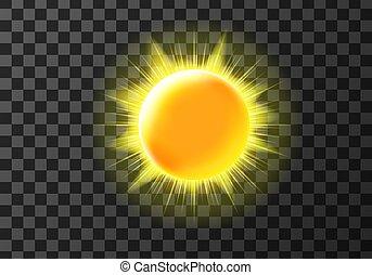 meteo, sol, icono, disco, tiempo, rayos