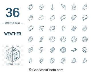 meteo, tiempo, línea, 3d, isométrico, icons., vector