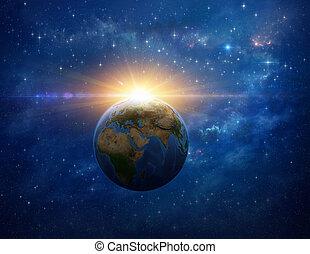 meteoor, botsing, massief, ontploffing, op, planeet land, van, ruimte