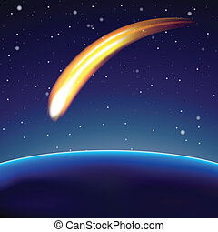 Meteor and globe in space (vector) - Meteor and globe in...