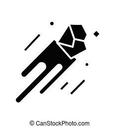 Meteor black icon, concept illustration, vector flat symbol, glyph sign.