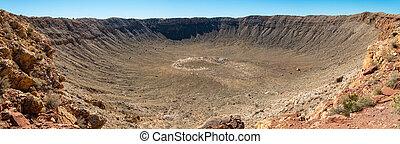 Meteor Crater panorama - Panoramic view of Meteor Crater in...