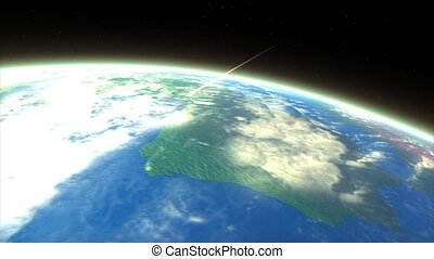 Meteor entry - Artist rendering meteor entering earth ...
