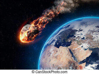 Meteor glowing as it enters the Earth's atmosphere. Elements...