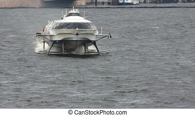 meteor - hydrofoil boat on Neva river in St. Petersburg Russia