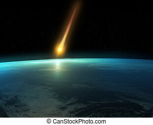 3d rendered illustration of the earth and a crashing meteorid