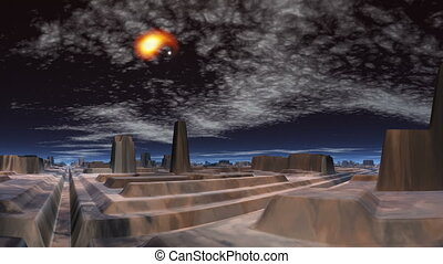 Meteor over the city of aliens
