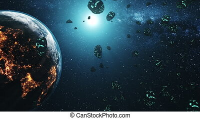 meteor shower flying through solar system to Earth