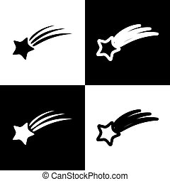 Meteor shower sign. Vector. Black and white icons and line icon on chess board.