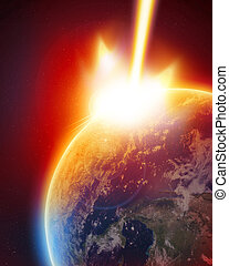 meteor strike on earth in outer space