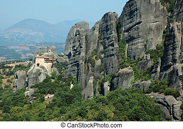 Meteora Agios Nikolaos Anapafsas rock monastery,Greece. Meteora  is one of largest and most important complexes of Eastern Orthodox monasteries in Greece