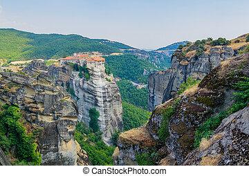 Meteora. Famous Greek Christian monastery on the rock. ...
