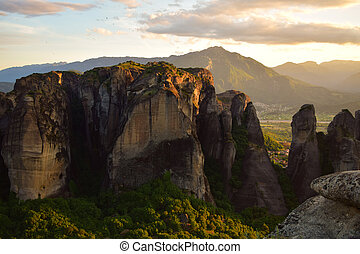 Meteora in Greece Cliffs, kalambaka sunset monastery