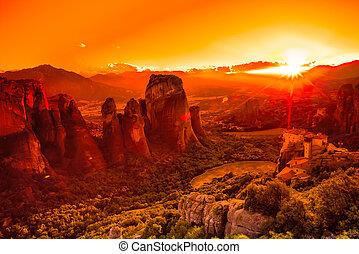 Meteora Kalambaka - Spectacular colorful sunset over the ...