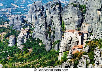 Meteora Monasteries, Greece, horizontal shot