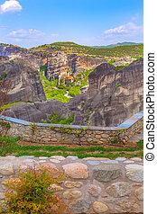 Meteora monasteries on the high cliff, Greece - Panoramic ...