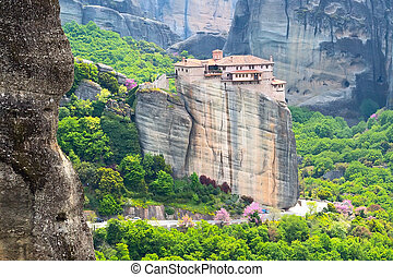 Meteora monastery on the high cliff, Greece