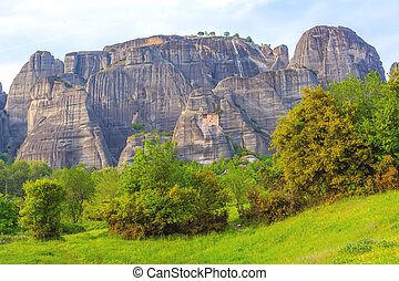 Meteora monastery on the high cliff, Greece - Panoramic view...