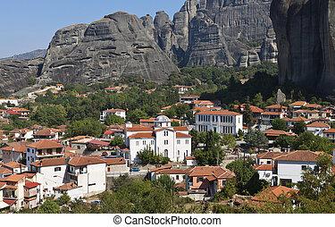Meteora peaks in Greece - Kastraki village at Kalambaka city...