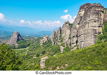 Meteora. Plain of Thessaly, Greece - Rock formations of the ...