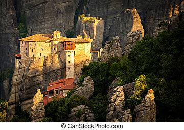 Meteora Roussanou Monastery at sunrise Greece