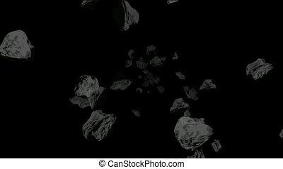 meteorit, und, stein, purzeln