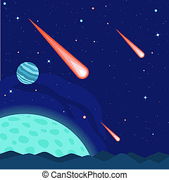 Meteorite concept background, flat style