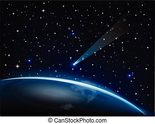 Meteorite falling on earth vector