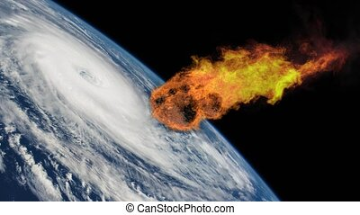 Meteorite Falling to Earth with a Hurricane. Asteroid, comet, meteorite glows, enters the earth's atmosphere. Attack of the meteorite. End of the world. Elements of this image furnished by NASA.