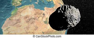 Meteorite going to earth - Big grey meteorite going to earth...