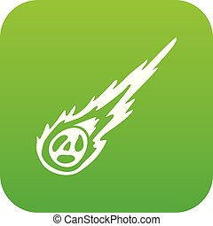 Meteorite icon digital green for any design isolated on...