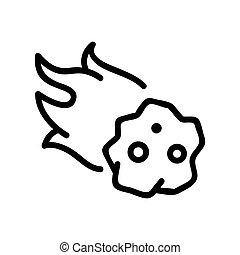 meteorite icon vector. Isolated contour symbol illustration