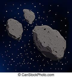 meteorite., illustration, vecteur, astéroïde