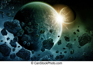Meteorite impact on a planet in space - View of a planet...