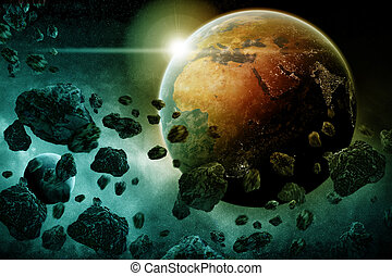 Meteorite impact on a planet in space