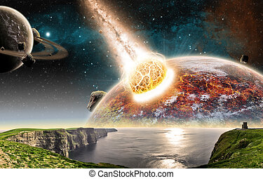 Meteorite impact on a planet in space - View of a planet ...