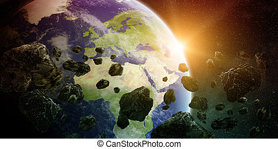 Meteorite impact on planet Earth in space