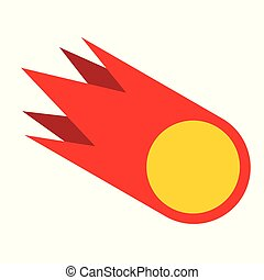 Meteorite isolated. Fire ball geometry. Vector illustration.
