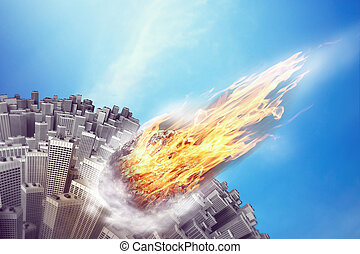 Meteorite near the Earth - Meteorite is flying towards the...