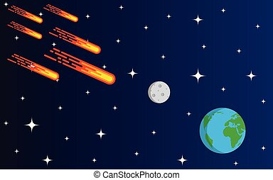 Meteorite or Asteroid Rain Coming to Earth Flat Style