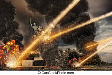 Meteorite shower destroying the Liberty Statue