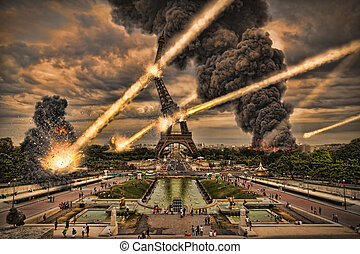 Meteorite shower destroying the Eiffel Tower in Paris