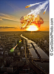 Meteorite shower over a city - Meteorite shower destroying ...